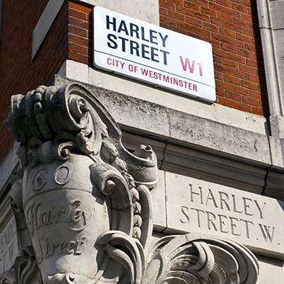 Harley Street sign corner